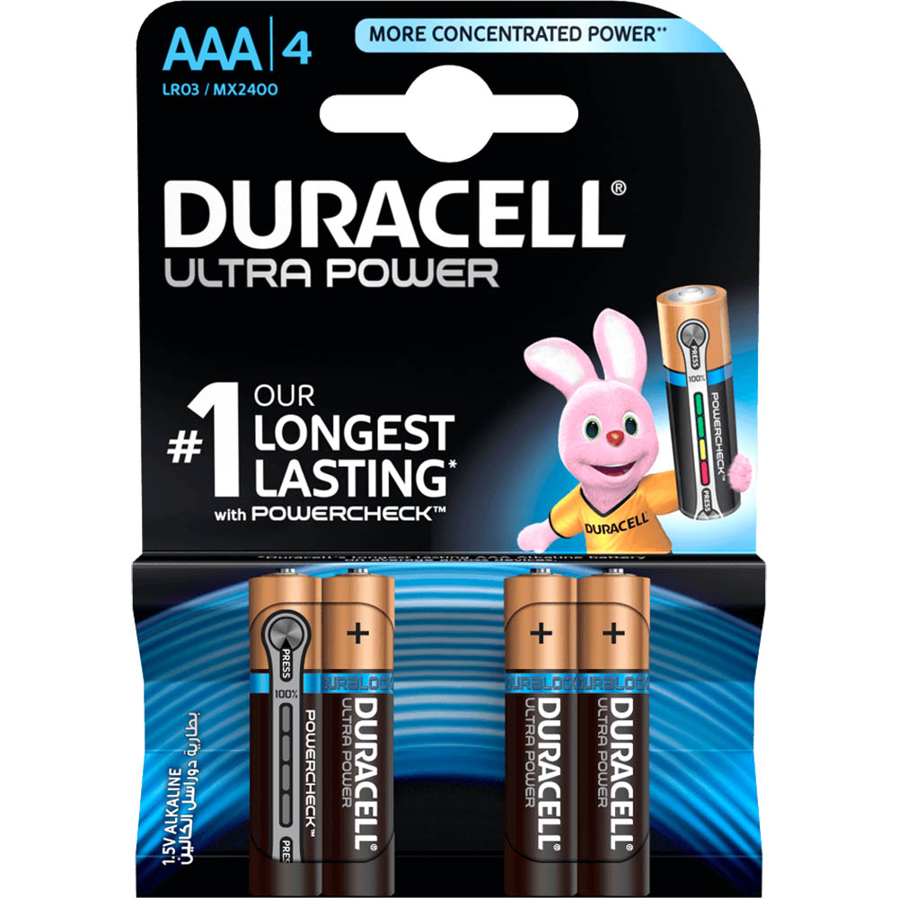 Image for DURACELL ULTRA ALKALINE AAA BATTERY PACK 4 from Wetherill Park / Smithfield Office National