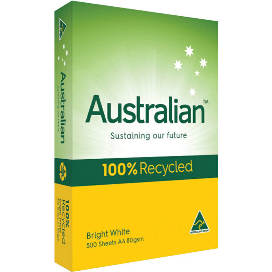 Image for AUSTRALIAN A4 100% RECYCLED COPY PAPER 80GSM WHITE PACK 500 SHEETS from Emerald Office Supplies