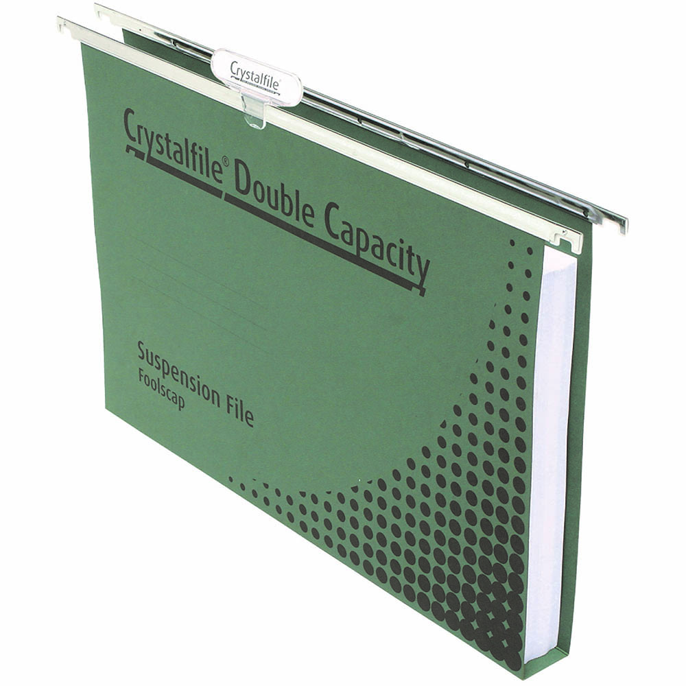 Image for CRYSTALFILE DOUBLE CAPACITY SUSPENSION FILES 30MM FOOLSCAP GREEN BOX 50 from Axsel Office National