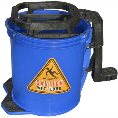 Image for CLEANLINK MOP BUCKET HEAVY DUTY PLASTIC WRINGER 16 LITRE BLUE from Office National Limestone Coast