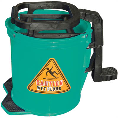 Image for CLEANLINK MOP BUCKET HEAVY DUTY PLASTIC WRINGER 16 LITRE LIGHT GREEN from Office National Limestone Coast