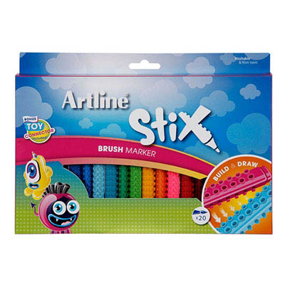 Image for ARTLINE STIX BRUSH MARKER ASSORTED PACK 20 from Axsel Office National