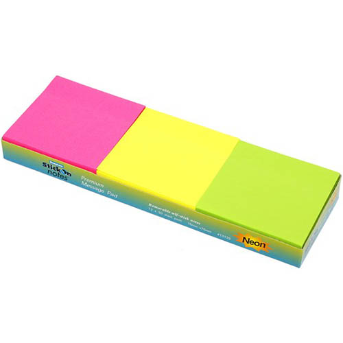 Image for STICK ON NOTES 50 SHEETS 76 X 76MM NEON ASSORTED PACK 12 from Mackay Business Machines (MBM)