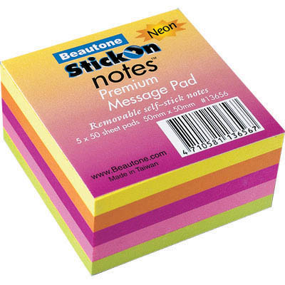 Image for STICK ON NOTES 50 SHEETS 50 X 50MM NEON ASSORTED from Office National Perth CBD