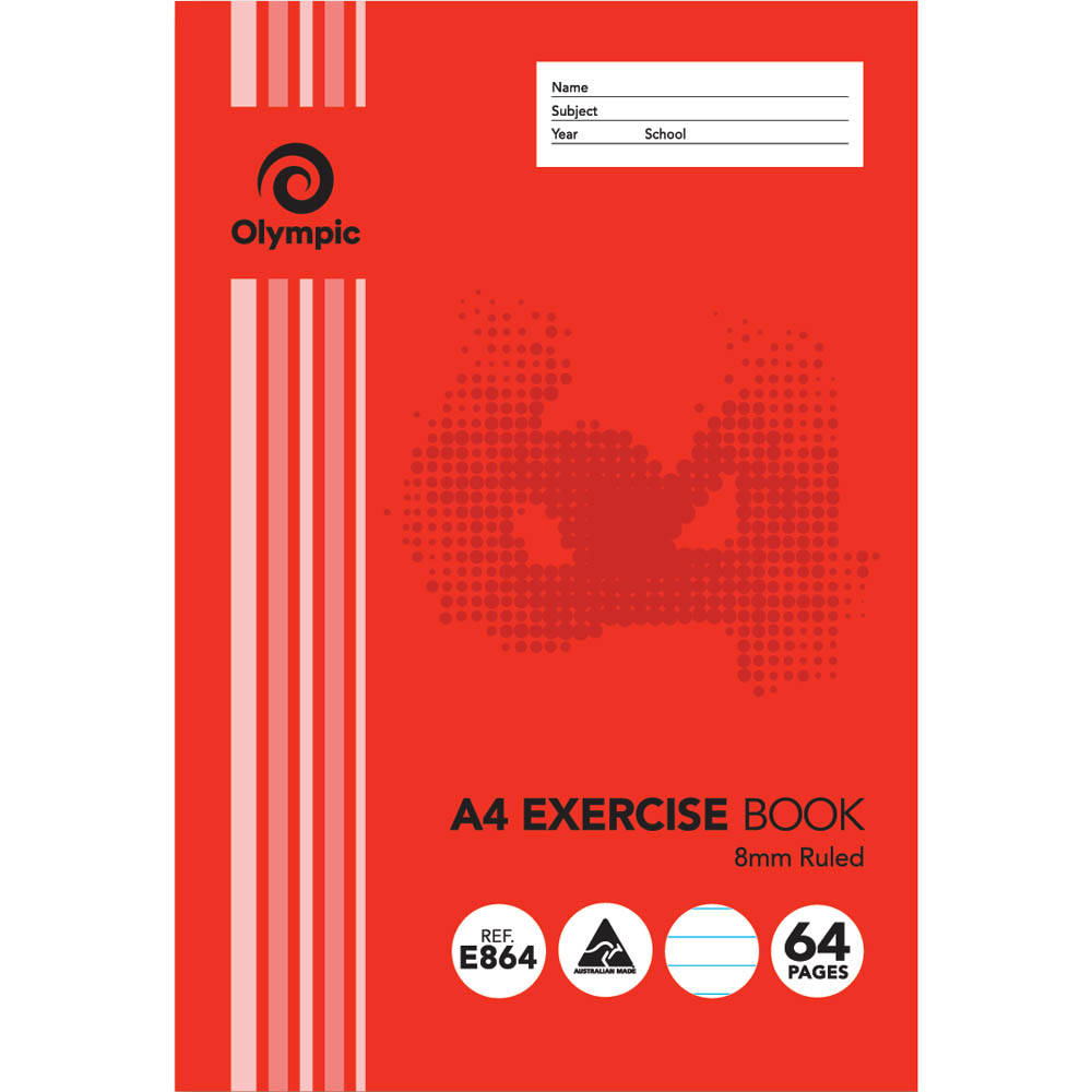 Image for OLYMPIC E864 EXERCISE BOOK 8MM RULED 55GSM 64 PAGE A4 from Office National Kalgoorlie