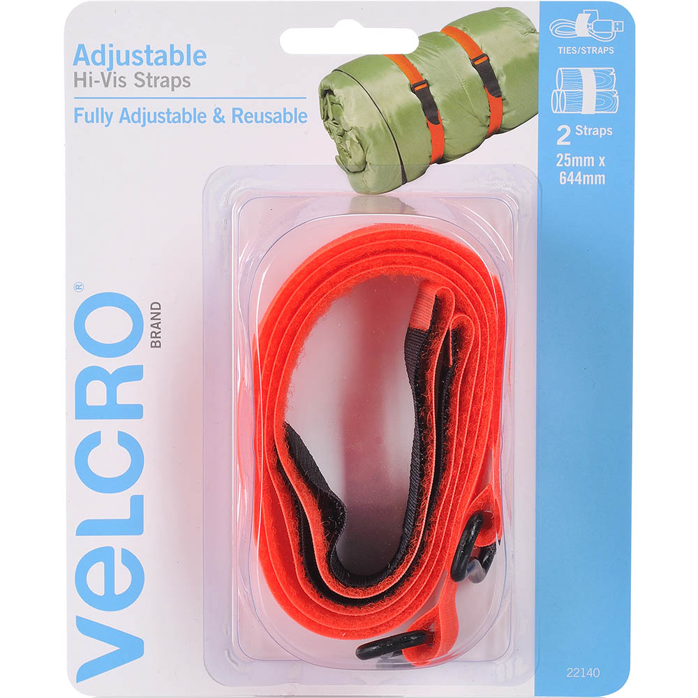 Image for VELCRO BRAND VELSTRAP ADJUSTABLE TIE STRAP 25 X 645MM HIGH-VIS ORANGE PACK 2 from Office National Hobart