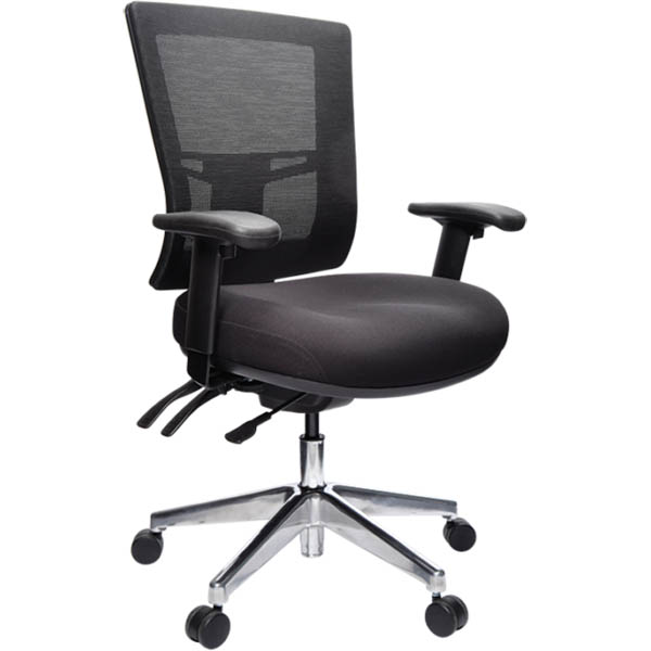 Image for BURO METRO II CONNECT TASK CHAIR MEDIUM MESH BACK 1-LEVER POLISHED ALUMINIUM BASE ARMS BLACK from Office National Perth CBD