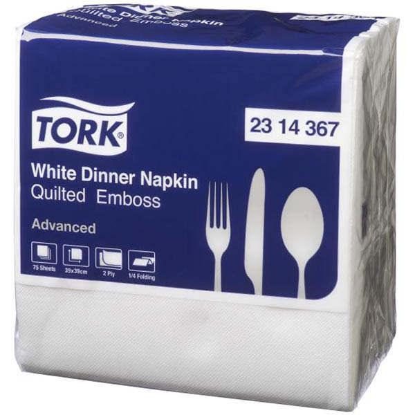 Image for TORK 2314367 QUILTED EMBOSS DINNER NAPKIN 2 PLY 390 X 390MM WHITE PACK 75 from Our Town & Country Office National