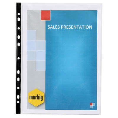 Image for MARBIG SHEET PROTECTORS BLACK EDGE A4 BOX 100 from Office National Perth CBD