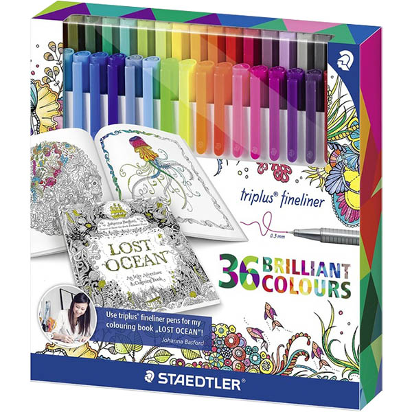 Image for STAEDTLER 323 JOHANNA BASFORD TRIPLUS FINELINE PEN ASSORTED BOX 36 from PaperChase Office National