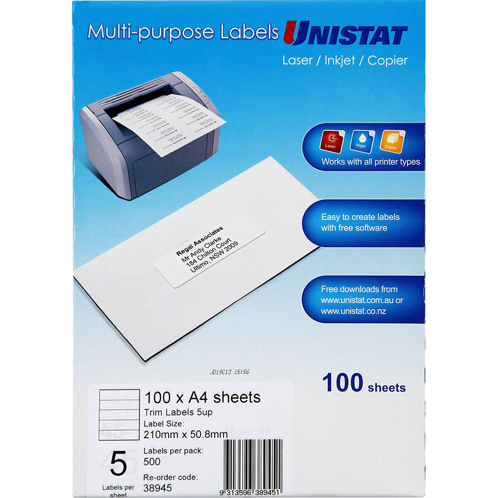 Image for UNISTAT 38945 MULTI-PURPOSE LABEL 5UP 50.8 X 210MM PACK 100 from Office National Capalaba