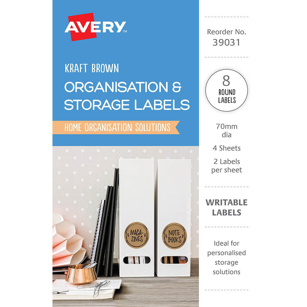 Image for AVERY 39031 ORGANISATION AND STOREAGE LABELS CIRCLE KRAFT BROWN PACK 8 from Axsel Office National