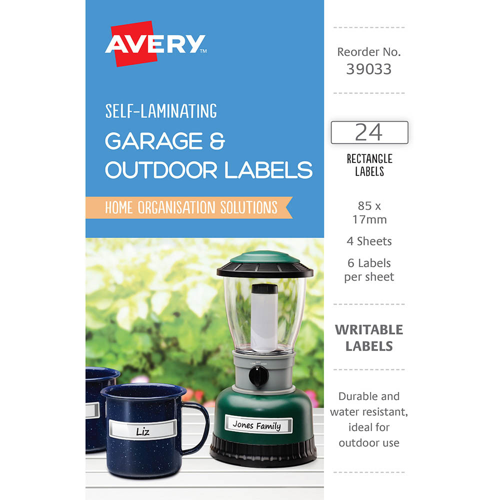 Image for AVERY 39033 SELF-LAMINATING LABELS GREY PACK 24 from Mackay Business Machines (MBM)