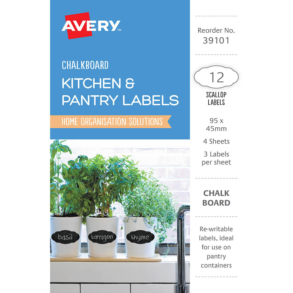Image for AVERY 39101 CHALKBOARD LABELS SCOLLOP PACK 12 from Mackay Business Machines (MBM)