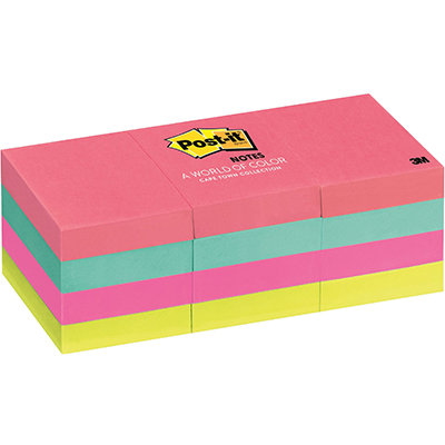 Image for POST-IT 653-AN MINI NOTES 36 X 48MM CAPE TOWN PACK 12 from Office National Perth CBD