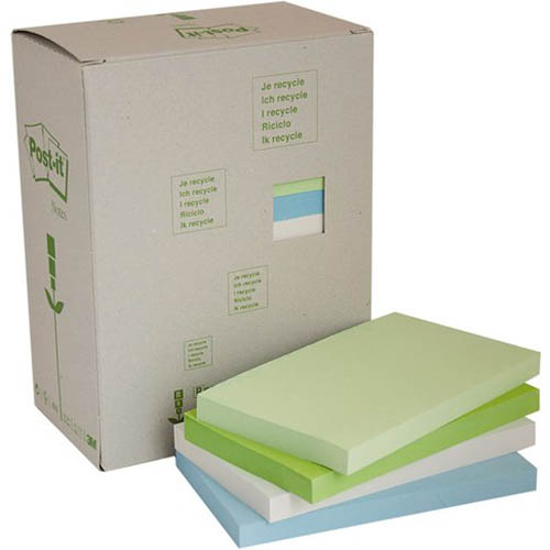 Image for POST-IT 655-RTP RECYCLED NOTES 76 X 127MM HELSINKI PACK 16 from Office National Perth CBD