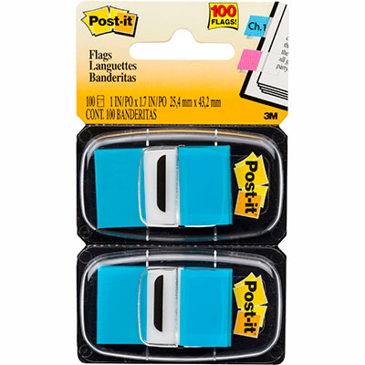 Image for POST-IT 680-BB2 FLAGS BRIGHT BLUE TWIN PACK 100 from Mackay Business Machines (MBM)