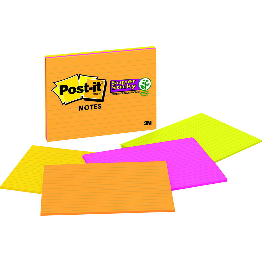 Image for POST-IT 6845-SSPL SUPER STICKY LINED NOTES 149 X 200MM RIO DE JANEIRO PACK 4 from Paul John Office National