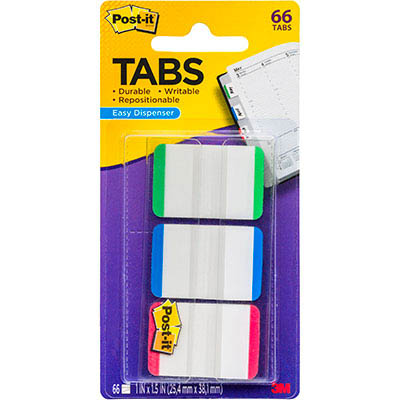 Image for POST-IT 686L-GBR DURABLE TABS 3 COLOURS PACK 66 from Paul John Office National