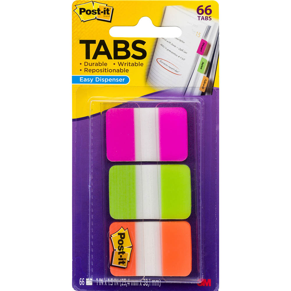 Image for POST-IT 686-PGO DURABLE TABS 3 COLOURS PINK GREEN ORANGE PACK 66 from Paul John Office National