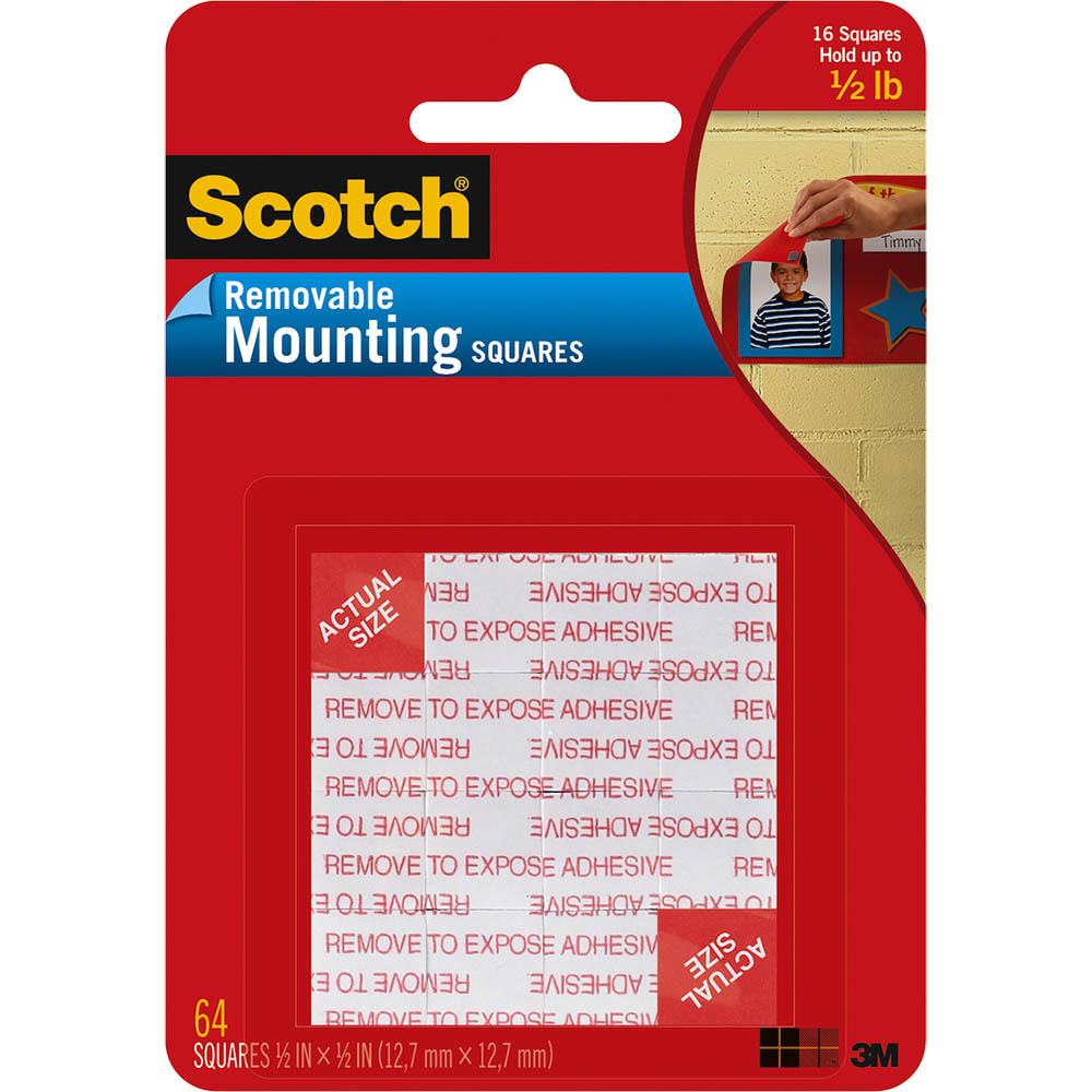 Image for SCOTCH 108 MOUNTING SQUARES REMOVABLE SMALL 13MM BLACK PACK 64 from Axsel Office National