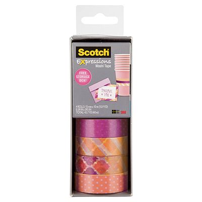 Image for SCOTCH C317-4PK-STRP EXPRESSIONS WASHI TAPE ASSORTED PACK 4 from Office National Perth CBD