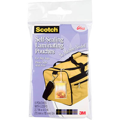 Image for SCOTCH LS853-5G SELF LAMINATING BAG TAGS WITH LOOP PACK 5 from Axsel Office National
