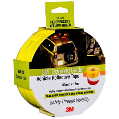 Image for 3M 983-23 DIAMOND GRADE REFLECTIVE TAPE FLURO YELLOW/GREEN 50MM X 3M from OFFICE NATIONAL CANNING VALE, JOONDALUP & OFFICE TOOLS OPD