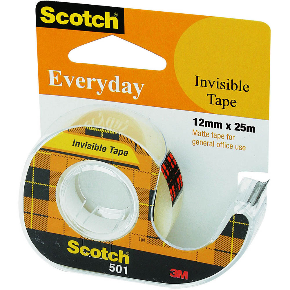 Image for SCOTCH 501 EVERYDAY INVISIBLE TAPE ON DISPENSER 12MM X 25M from Axsel Office National