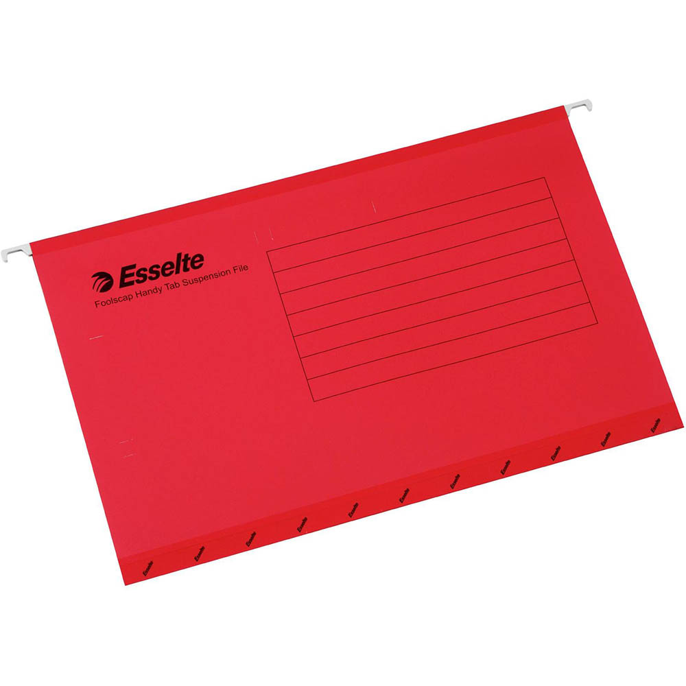 Image for ESSELTE HANDY TAB SUSPENSION FILES FOOLSCAP RED PACK 10 from Office National Perth CBD