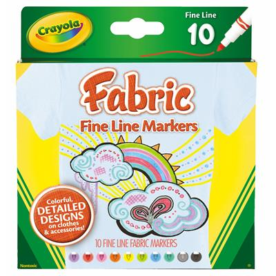 Image for CRAYOLA FINE LINE FABRIC MARKERS PACK 10 from Wetherill Park / Smithfield Office National