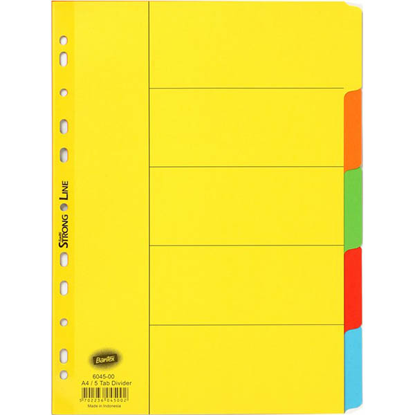 Image for BANTEX MANILLA DIVIDER 5 CUT TAB A4 ASSORTED from Axsel Office National