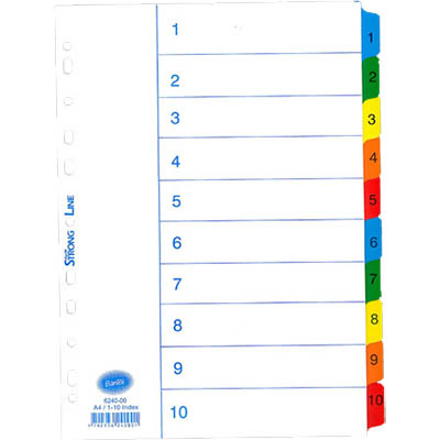 Image for BANTEX MYLAR INDEX DIVIDER 1-10 TAB A4 WHITE from Mackay Business Machines (MBM)