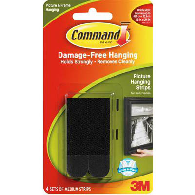 Image for COMMAND PICTURE HANGING STRIP MEDIUM BLACK PACK 4 PAIRS from Mackay Business Machines (MBM)