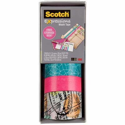 Image for SCOTCH C317-3PK-TRV EXPRESSIONS WASHI TAPE ASSORTED PACK 3 from Connelly's Office National
