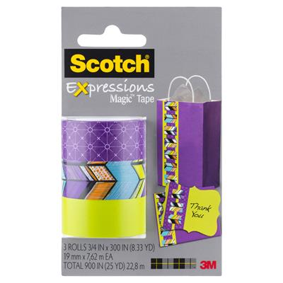 Image for SCOTCH C214 EXPRESSIONS MAGIC TAPE SPOKES/TRIBAL/LIME GREEN PACK 3 from Office National Capalaba