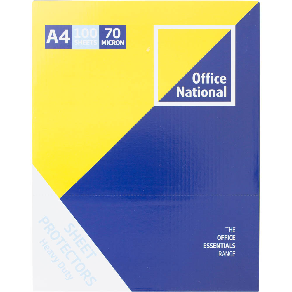 Image for OFFICE NATIONAL BUSINESS SHEET PROTECTORS HEAVY DUTY 70 MICRON A4 BOX 100 from Axsel Office National