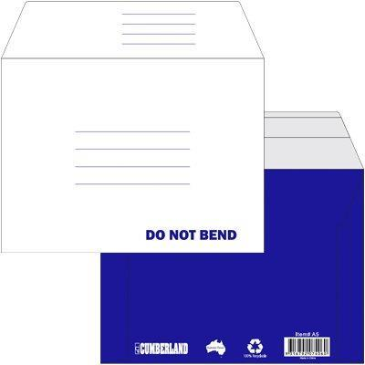 Image for CUMBERLAND CARDBOARD POCKET ENVELOPES PLAINFACE STRIP SEAL 450GSM A5 WHITE/BLUE PACK 25 from Axsel Office National