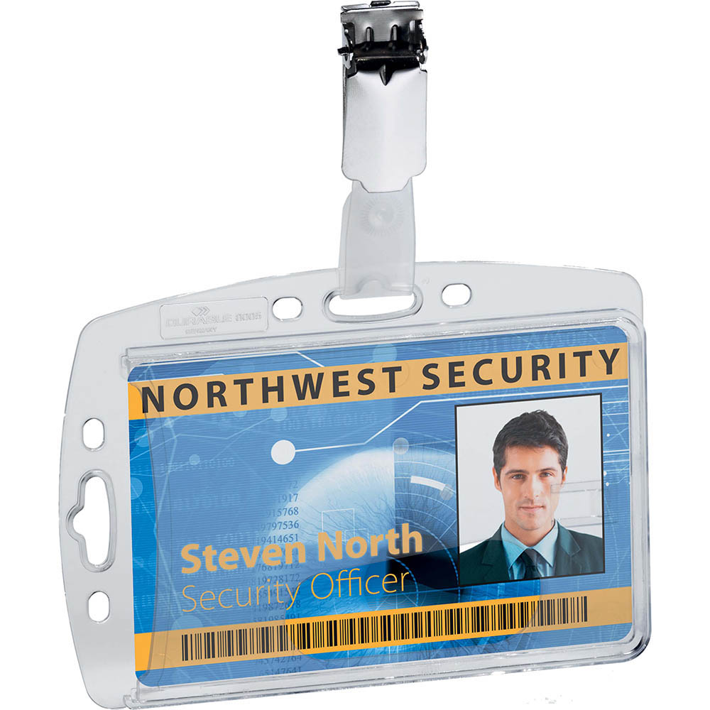 Image for DURABLE ACRYLIC SECURITY PASS HOLDER WITH ROTATING CLIP BOX 25 from Paul John Office National