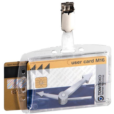 Image for DURABLE ACRYLIC SECURITY PASS HOLDER DUO WITH ROTATING CLIP BOX 25 from Axsel Office National