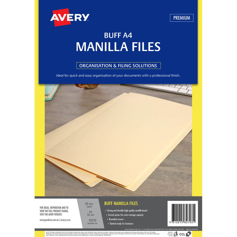 Image for AVERY 82703 MANILLA FOLDER A4 BUFF PACK 20 from Axsel Office National