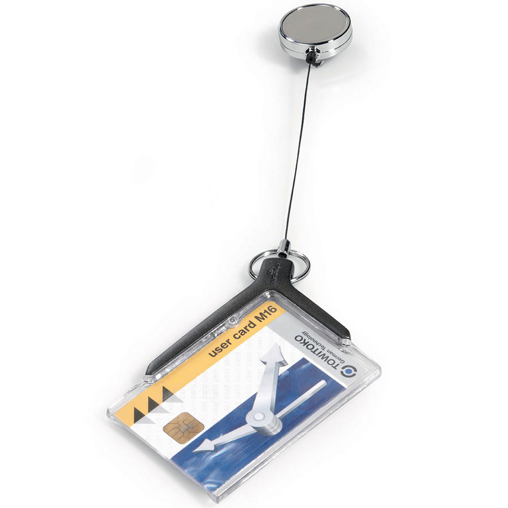 Image for DURABLE CARD HOLDER DELUXE ACRYLIC PRO WITH REEL from Paul John Office National