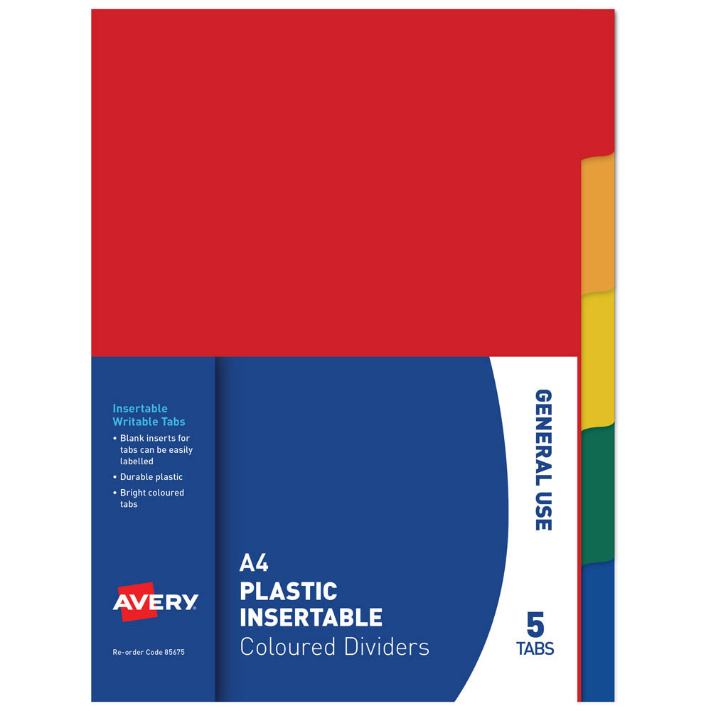 Image for AVERY 85675 DIVIDER INSERTABLE 5-TAB MULTI COLOURED from Axsel Office National