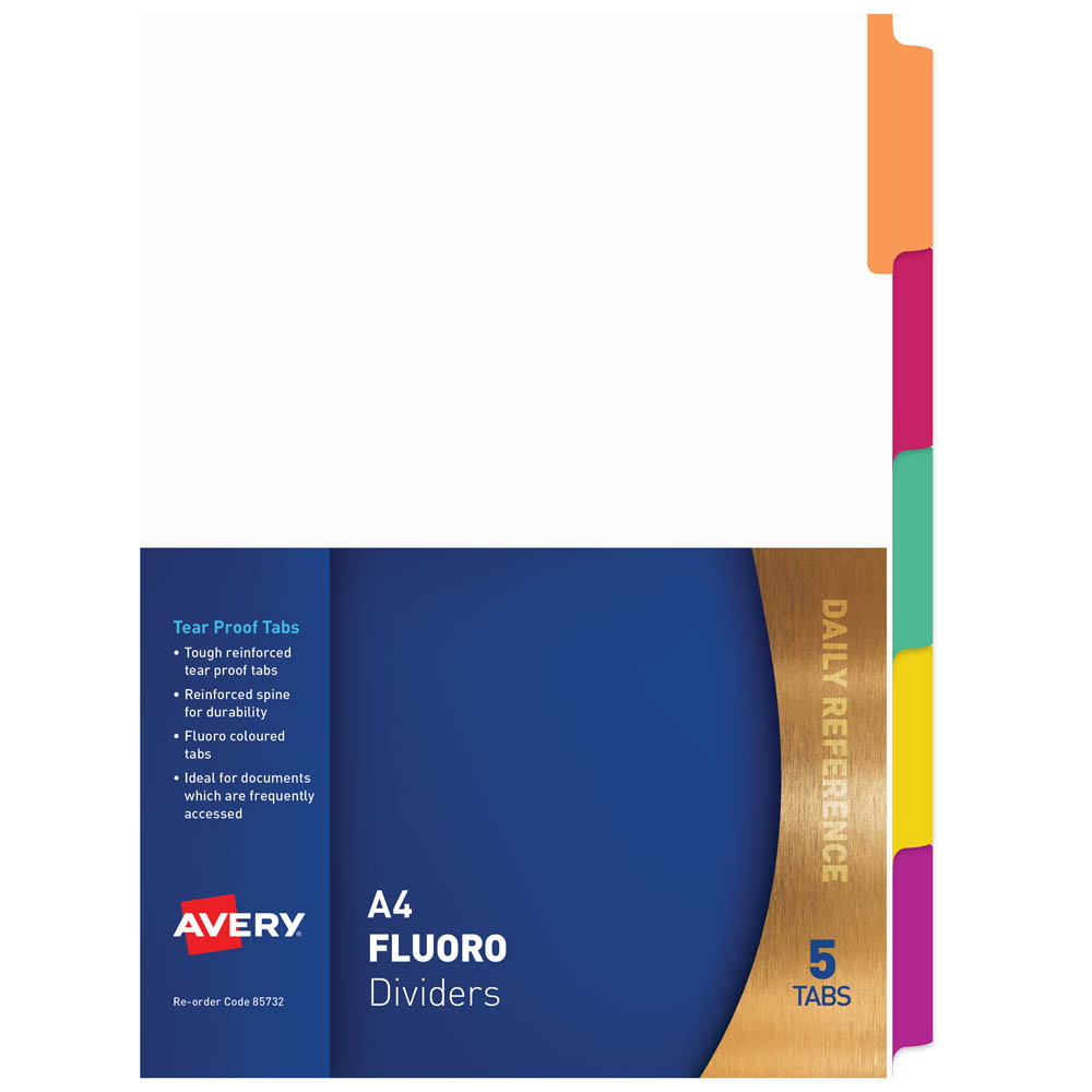 Image for AVERY 85732 DIVIDER PLASTIC 5-TAB A4 FLUORESCENT MULTI COLOURS from Mackay Business Machines (MBM)