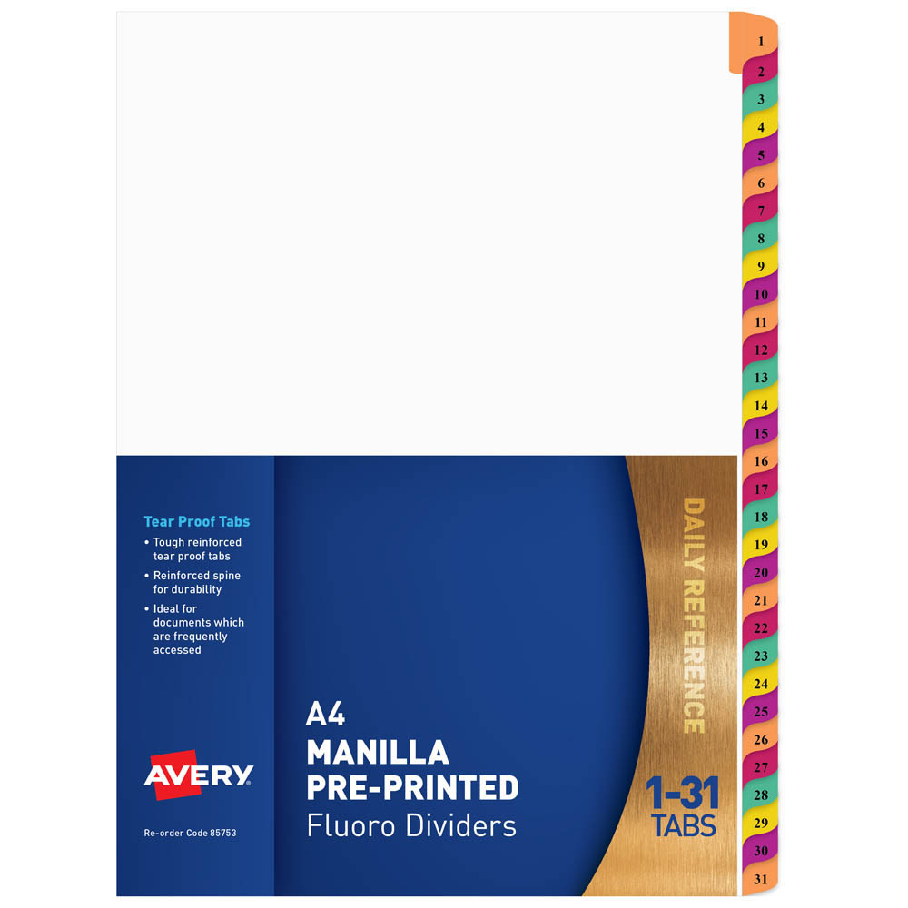 Image for AVERY 85753 DIVIDER PLASTIC 1-31 TAB A4 FLUORESCENT MULTI COLOURS from Office National Perth CBD