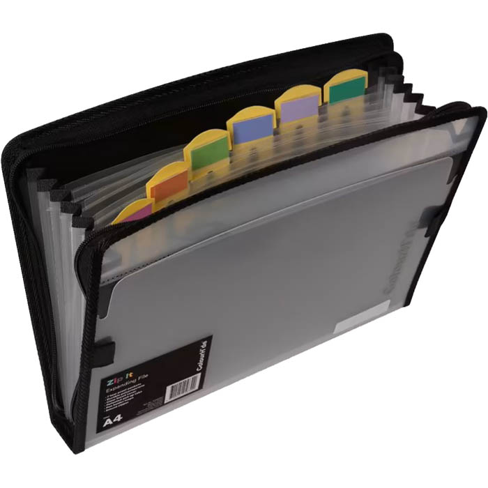 Image for COLOURHIDE ZIPIT PP EXPANDING FILE 7 POCKET FOOLSCAP BLACK from Office National Capalaba