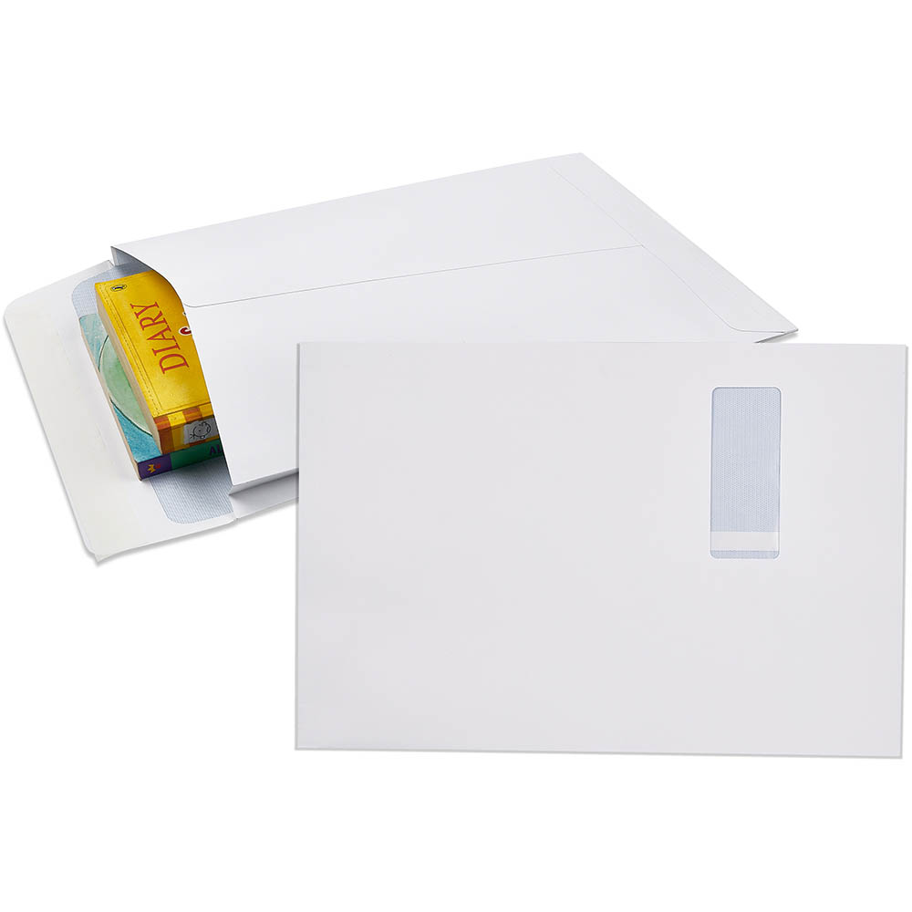 Image for CUMBERLAND ENVELOPES SECURITIVE POCKET EXPANDABLE WINDOWFACE STRIP SEAL 150GSM 340 X 229MM WHITE PACK 50 from Mackay Business Machines (MBM)