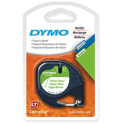 Image for DYMO 92630 LETRATAG LABELLING TAPE PAPER 12MM X 4M BLACK ON PEARL WHITE PACK 2 from Axsel Office National