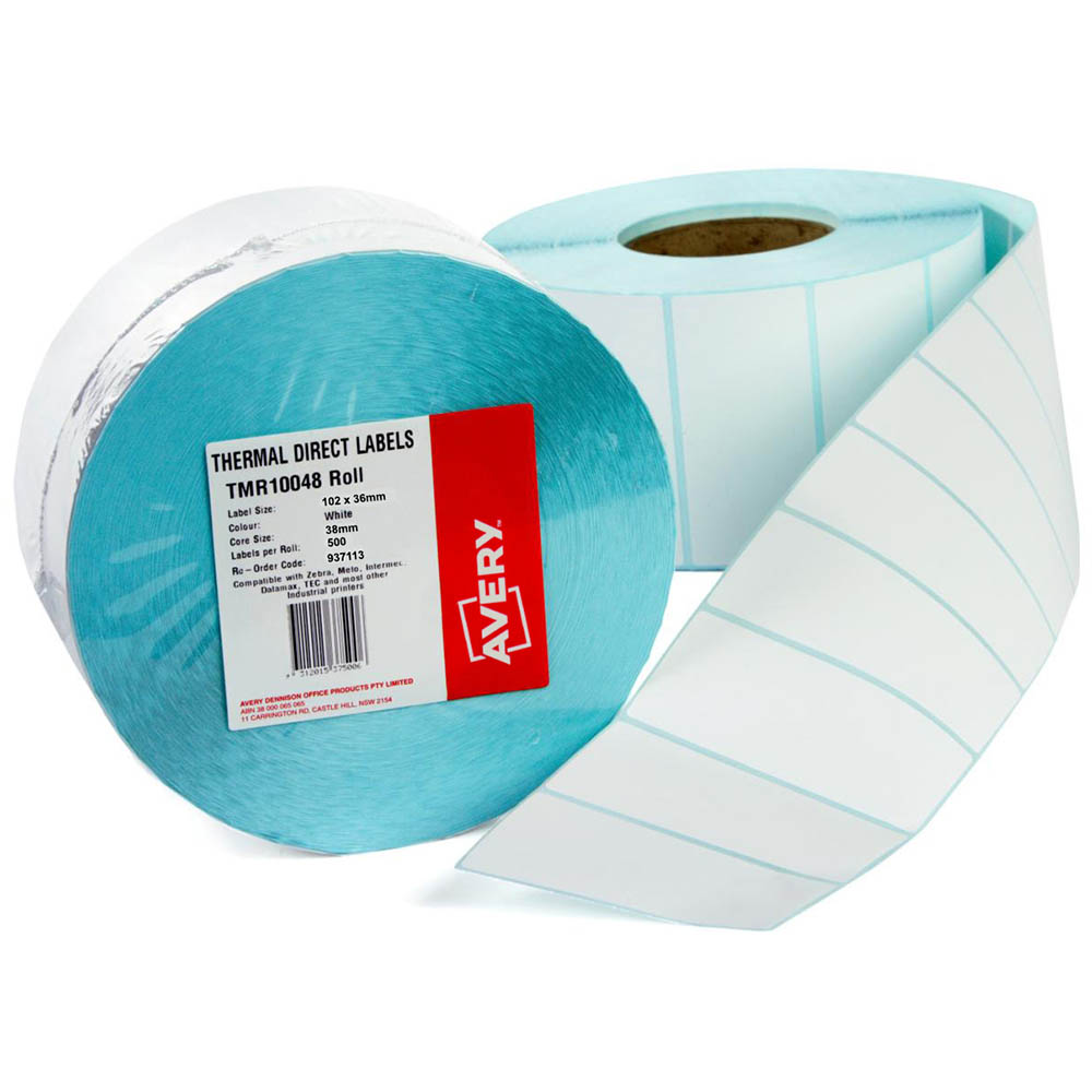 Image for AVERY 937113 DIRECT THERMAL LABELS WITH PERFORATION 102X36MM ROLL 500 from Office National Perth CBD