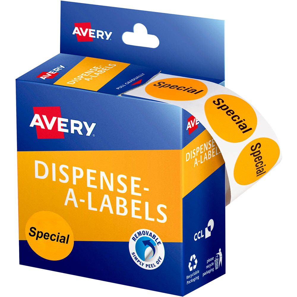 Image for AVERY 937312 MESSAGE LABELS SPECIAL 24MM ORANGE PACK 500 from Axsel Office National